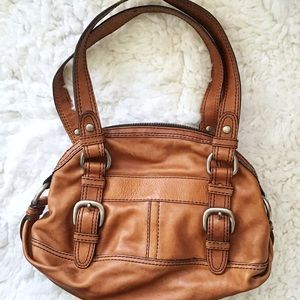 Fossil Fifty Four Brown  Leather Shoulder Bag